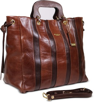 Chiarugi Genuine Leather Striped Tote Bag