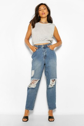 boohoo Vintage Wash High Rise Distressed Dad Jeans