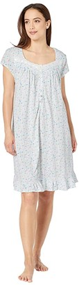 Eileen West Cotton Jersey Knit Short Sleeve Short Nightgown (White Ground/Packed Floral) Women's Pajama
