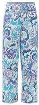 Le Sirenuse Le Sirenuse, Positano - Stephan Psycho-print Cotton Wide-leg Trousers - Womens - Blue Print