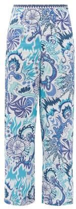 Le Sirenuse Positano Le Sirenuse, Positano - Stephan Psycho-print Cotton Wide-leg Trousers - Blue Print