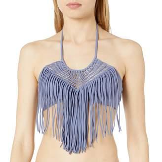 Luli Fama Women's Heart of A Hippie Weave Fringed Halter Bikini Top