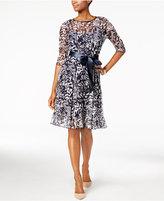 Jessica Howard Petite Floral-Mesh A-Line Dress