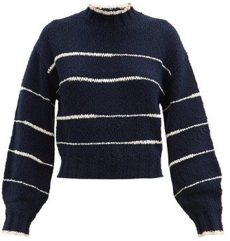 Proenza Schouler White Label High-neck Striped Cotton Sweater - Navy Multi