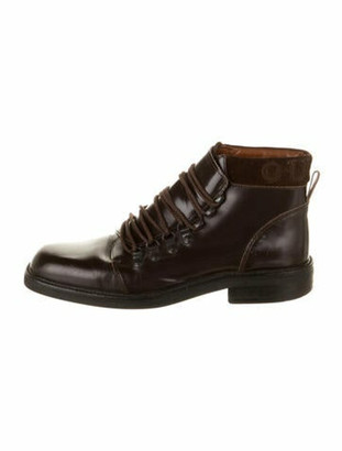 Gucci Leather Printed Lace-Up Boots Brown