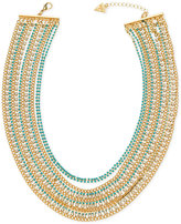 GUESS Gold-Tone Blue Bead and Crystal Multi-Chain Statement Necklace
