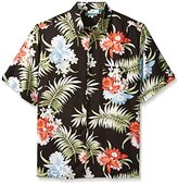 Cubavera Men's Big and Tall Pocketed All Over Floral Printed Short Sleeve Woven Shirt