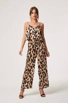 Girls On Film Jetset Leopard Satin Ruffle Overlay Jumpsuit