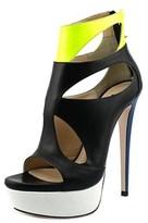 Ruthie Davis Z. Coleman Women Open Toe Leather Black Platform Heel.