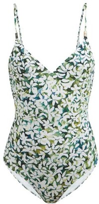 Marios Schwab Asteria Floral-print Scoop-back Swimsuit - Green Print