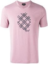 Giorgio Armani shallow V-neck T-shirt - men - Spandex/Elastane/Viscose - 46