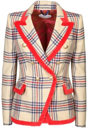 The Extreme Collection Beige Checkered Blazer Dianora