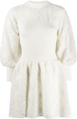 Alberta Ferretti Long Sleeve Knitted Midi Dress