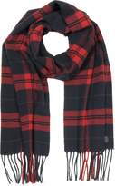 DSQUARED2 Red/Navy Blue Checked Wool and Cashmere Men's Scarf w/Fringes