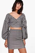 boohoo Tina Gingham Wrap Crop & Skirt Co-ord