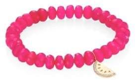 Sydney Evan Diamond, Hot Pink Chalcedony& 14K Yellow Gold Beaded Bracelet