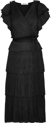 Diane von Furstenberg Sasha Tiered Plisse Crepe De Chine Midi Wrap Dress
