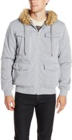 Southpole Men's Hooded Zip Fleece Padding Jacket with Faux Fur Trim On Hood