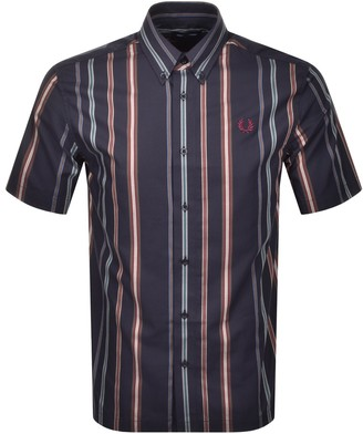 Fred Perry Striped Short Sleeved Shirt Navy