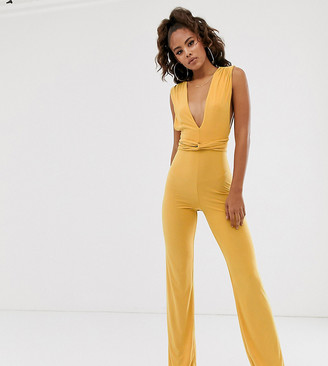 Club L London Tall soft touch plunge front jumpsuit in yellow