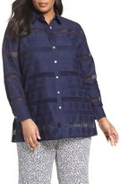 Foxcroft Plus Size Women's Circle Eyelet Tunic Shirt