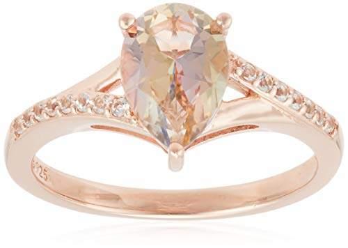 Swarovski Rose Gold Plated Sterling Silver Genuine and White Topaz Ring