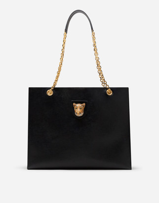 Dolce & Gabbana Large Jungle Bag In Calfskin With Jewel