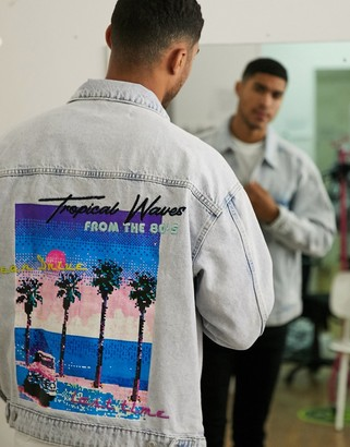 Bershka denim jacket with back print in light blue