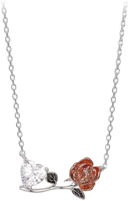 Disney Enchanted Rose and Heart Necklace Beauty and the Beast