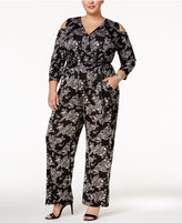 NY Collection Plus Size Printed Cold-Shoulder Jumpsuit