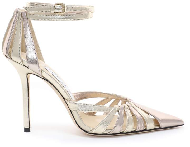 Jimmy Choo TRAVIS 100 Gold Mix Metallic Nappa Leather Strappy Pump with a Pointed Toe