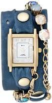La Mer Women's LMSCW1503 Teal Sunset Swarovski Analog Display Quartz Blue Watch