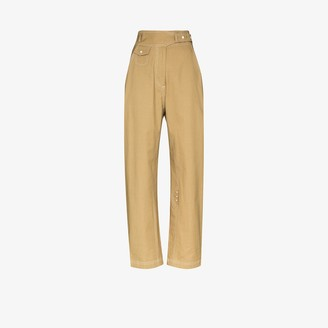 Low Classic Belted High Waist Cotton Trousers