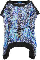 Matthew Williamson Akita Animal Leopard-print Silk-chiffon Kaftan - Bright blue