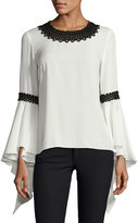 Andrew Gn Silk Blouse w/Contrast Embroidery, Cream
