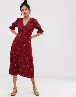 Moon River polka dot ruched dress-Red