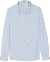 Miu Miu Embellished Cotton-jacquard Shirt - Sky blue