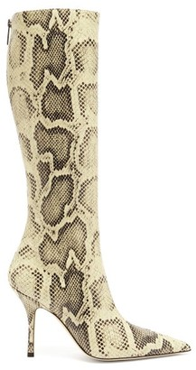 Paris Texas Mama Python-effect Leather Knee-high Boots - Cream Multi