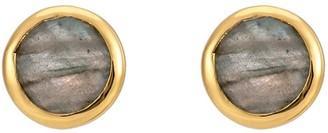 Katie Belle Sophina 18ct Gold Vermeil Round Gemstone Stud Earrings - Labradorite