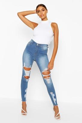 boohoo Power Stretch High Rise Distressed Skinny Jean