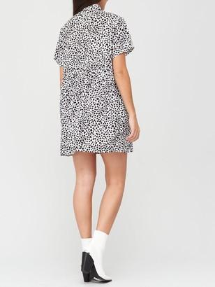 Missguided Shirt Smock Dress Dalmatian - White