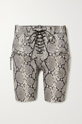 Unravel Project Lace-up Snake-effect Leather Shorts - Beige