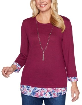 Alfred Dunner Plus Size Autumn Harvest Layered-Look Top