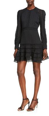 Bardot Prinnie Embroidered Long-Sleeve Mini Dress