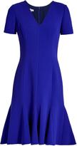 Oscar de la Renta Flared-hem wool-blend crepe dress
