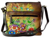 Leather Sling Bag Brown Floral Motifs from India, 'Floral Brilliance'