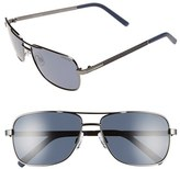 Men's Polaroid Eyewear 58Mm Polarized Navigator Sunglasses - Dark Ruthenium