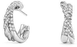 David Yurman Pavé Flex Petite Hoop Earrings with Diamonds in 18K White Gold