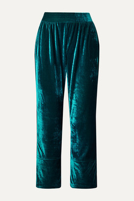 PatBO Cropped Velvet Wide-leg Pants - Teal