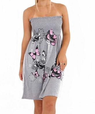 Fashion's island Ladies Gathered Bandeau Boob Tube Sheering Swing Top Womens Glitter Floral Dress Light Grey 12-14